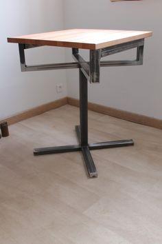 Table style brasserie Métal bois