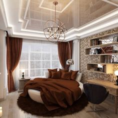 Love the ceiling! Although I hate round beds...