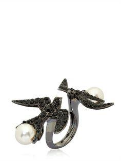 SCHIELD - SWALLOW DOUBLE RING - LUISAVIAROMA - LUXURY SHOPPING WORLDWIDE SHIPPING - FLORENCE