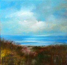 End of Summer- 8 x 8 Original Oil Painting- Stretched Canvas- Beach- Grasses- Colorful Grass-  Blue on Etsy, $54.00
