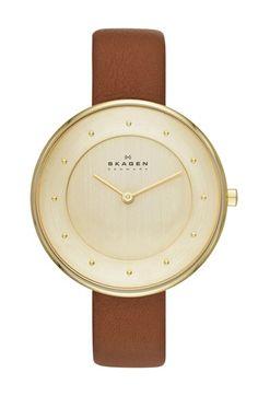 Skagen Round Slim Leather Strap Watch @Nordstrom