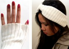 Up-Cycle an old sweater! Make hand warmers, leg warmers, and a headband out of an old stained or hole-y sweater instead of throwing it away
