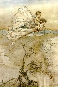 … and her fairy sent to bear him to my bower in fairy land. A Midsummer-Night's Dream illus. Arthur Rackham