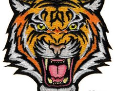 Tiger Patch Embroidered Iron-On Applique Roaring Bengal Striped Souvenir: This brand new embroidered patch shows a fierce looking wild roaring tiger. Heat-seal backing allows buyer to iron this patch onto virtually any fabric. Flag Patches, Cool Patches, Biker Patches, Pin And Patches, Sew On Patches, Iron On Patches, Iron On Embroidered Patches, Iron On Applique, Embroidery Patches