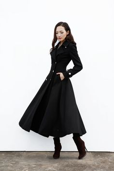 Black Coat / Maxi Wool Jacket / Big Lapel Wool by Sophiaclothing