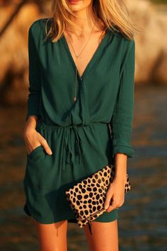 green V neck dress + animal prints