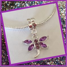Light purple dragon fly charm Cute silver plated charm. Great addition to your charm bracelet. Jewelry