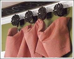 Cheap Window Treatments & Hardware Idea....this would be cute in the kitchen or laundry with burlap material.