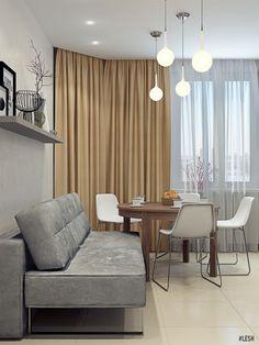 Большая современная кухня | Студия LESH (кухня, столовая, гости, большой диван, освещение, стол)