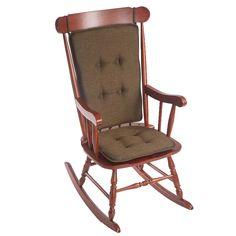 Klear Vu Gripper Embrace Low Profile 2 Piece Rocking Chair Cushion Set Chocolate
