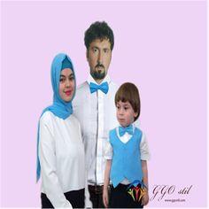 Aile  Kombini - Çocuk Papyon Mavi