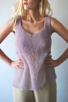 Knit blouse womens tank top women summer top loose by PlexisArt