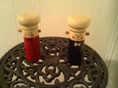 Vintage Wooden Red and Black 1940's Chef Salt & Pepper Shakers by cappelloscreations, $18.00@Etsy