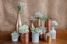 For the DIY wedding – recycled wedding decorations! Collect bottles, tin cans an… For the DIY wedding – recycled wedding … Tin Can Centerpieces, Wedding Centerpieces, Recycled Wedding Decorations, Wedding Flower Arrangements, Wedding Flowers, Diy Wedding, Rustic Wedding, Brunch Wedding, Tin Can Wedding Ideas