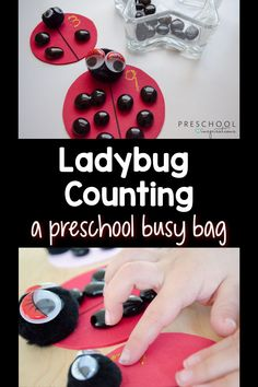 A ladybug-themed busy bag that's perfect for spring! This busy bag is as educational as it is cute - it works on quantity, counting, and learning numbers. A great preschool math activity to change up your routine! Preschool Songs, Preschool Science, Preschool Ideas, Bug Activities, Spring Activities, Kinesthetic Learning, Science Experiments For Preschoolers, Lesson Plans For Toddlers, Learning Numbers