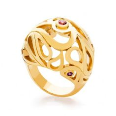 Mari Splash Boule Ring in Sterling Silver and Yellow Gold Vermeil with Citrine, Rhodolite and Amethyst.