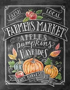 Fall Art - Farmer's Market - Fall Decor - Fall Print - Pumpkin Art - Fall Farmer's Market - Fall Print - Chalkboard Illustration - Chalk Art - Welcome! Chalkboard Lettering, Chalkboard Designs, Fall Chalkboard Art, Chalkboard Drawings, Chalkboard Paint, Halloween Chalkboard Art, Chalkboard Printable, Chalkboard Ideas, Chalkboard Quotes