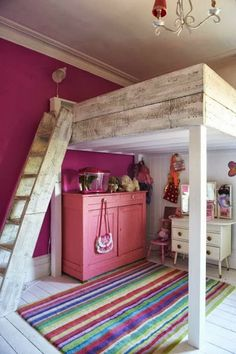 Children's bedrooms and playrooms Loft Bed - Kids Bedroom Ideas - Children's Room Decorating (housea Dream Rooms, Dream Bedroom, Magical Bedroom, My New Room, My Room, Kids Bunk Beds, Lofted Beds, Cool Rooms, Small Rooms