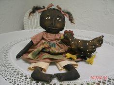 Primitive Black Folk Art Doll  Rihanna and Her by sockmonkeyheaven, $44.00