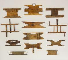 I love collections like this! Lost Found Art - Antique Primitive Wooden Kite String Holders