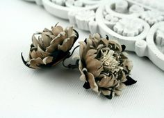 Beige/Brown Leather Peony Earrings,  Floral earrings, Real Leather Accessories