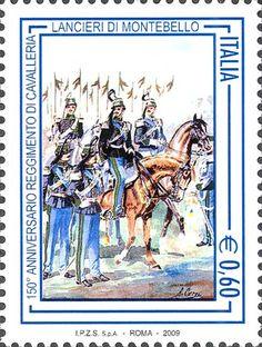 2009 - 150º anniversario del reggimento di cavalleria lancieri di Montebello  - Ufficiali e tromba dei cavalleggeri di Montebello, opera di Antonio Cervi