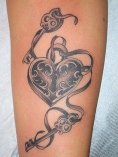 heart with lock and key tattoo | One Lock,Two Key Tattoo
