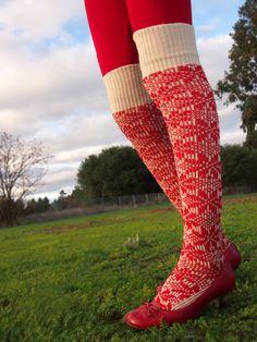 1960s red wool snowflake thighhigh socks by RoseleinRarities, $24.00