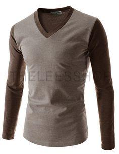 (TCA15-BEIGEBROWN) Mens Casual Slim Fit V-neck Long Sleeve Tshirts