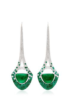 'Emerald Half Moon Cabochon Eiffel Tower Drop Earrings' Inspired by the Eiffel Tower - these Elegant drop Earrings feat. a lavish pair of Emerald Half Moon Cabochons & two half Moon Diamonds at center, micro-set with Scintillating White Diamonds & Emeralds in 18K White Gold by MARTIN KATZ FW-2017 for Pre-Order on Moda Operandi