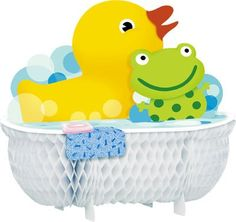"""$5.69-$15.90 Baby Top off your table with our Splish Splash honeycomb centerpiece. Each centerpiece measures 12 11/16"""" x 12 13/16"""" and features a yellow rubber ducky and green polka dot frog in a bubble bath."""