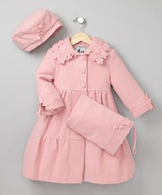 Take a look at this Powder Pink Floral Swing Coat Set - Toddler & Girls by Trilogi on #zulily today!