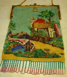 Antique beaded scenic purse - collection of Kathy Gunderson