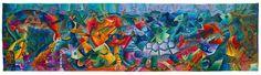 "/// ""Yacumama Raymi - Fiesta de la Diosa del Agua -  Festival of the Water Goddess"". 122 x 458 cm. 2005. Handwoven Tapestry Art. The Museo Máximo Laura's Collection. ///  #MuseoMaximoLaura #Museum #GalleryArt #TapestryArt #TapestryWeaving #weaveweird #weaverfever #weaving #HandwovenTextiles #Handwoven #Textures #Alpaca #TextileArt #TextileArtist #Cusco #Peru"