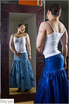 Verseaux by Bayiee - Double side long skirt in wax and cotton - by Bayiee on Afrikrea, €80.00