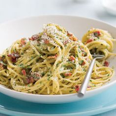 Spaghetti carbonara, one of my fav pasta dishes ever. This is the best picture, but the most delicious recipe is by Tyler Florence. I died when I watched him make it.