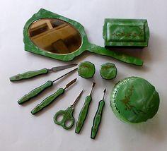 Brush - 9 x 2 - Glass Powder / Makeup Jars with lids - 2 x 1 Vintage Dressers, Vintage Vanity, Vintage Perfume, Vintage Art, Vintage Items, Dresser Vanity, Dresser Sets, Glass Vanity, Vanity Set