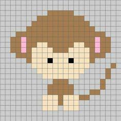 Animal monkey cross stitch.