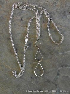 Three Linked Teardrops on 925 Sterling Silver by CedarCreekCanada