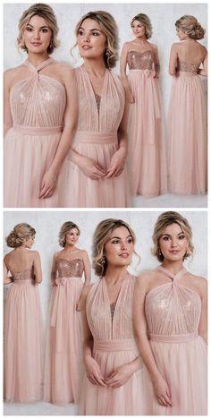 Rose Gold Sparkly Mismatched Sequin Long Bridesmaid Dresses, Cheap Unique Custom Long Bridesmaid Dresses, Affordable Bridesmaid Gowns, BD104 #wedding #bridesmaids #bridesmaiddresses #sequinbridesmaiddresses #longbridesmaiddresses #cheapbridesmaiddresses #dresses