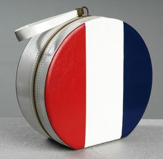 1960's MOD Red White and Blue Striped Train Case Hat Box by Airlander