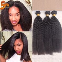 Brazilian Yaki Kinky Straight Hair Weave (3 Bundles)