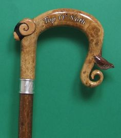 Burr oak shepherds crook with rams head and wren Hand Carved Walking Sticks, Walking Sticks And Canes, Purple Heart Wood, Farm Name, Walking Poles, Church Of England, Using Acrylic Paint, German Shorthaired Pointer, Wren
