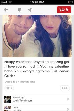 You guys.... Louis just posted this:) Elounor  is the most cutest relationship that has ever been known!!! I love them together!! They're so cute! I hope they stay together always:) happy early valentines day everyone!!