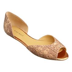 As seen in the May issue of Real Simple.....Dorsay peep toe flat.