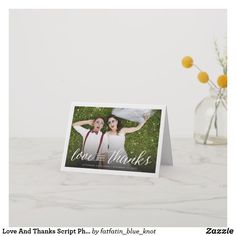 Love And Thanks Script Photo Wedding Thank You Note Card by fatfatin Thank You Note Cards, Wedding Thank You, Photo Cards, Script, Stationery, Thankful, Script Typeface, Paper Mill, Wedding Thanks