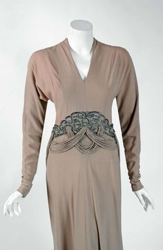 1940's Irene Lentz Beaded Rhinestone Taupe Evening Gown