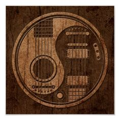 Acoustic Electric Guitars Yin Yang Wood Effect Clock | Zazzle