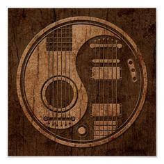 Acoustic Electric Guitars Yin Yang Wood Effect Clock | Zazzle