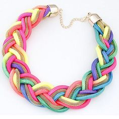 Hot Fashion Punk Neon Cord Chain Maxi Colares Choker Necklaces Handmade Statement Femininos Women Jewelry Bijuterias Accessories